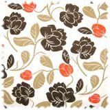 AKTION Exklusiver Möbelstoff Farbdruck 100% Leinen Arosa mit Flock Blüten 001