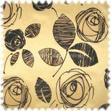 AKTION Microfibres® Flachgewebe Möbelstoff TORY mit Flockvelour Blüten gold / beige braun 001