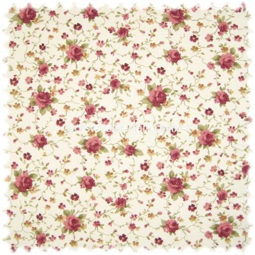 Möbelstoff Flora Little Rose Rotviolett / Perlweiss in Englisch Leinen Optik