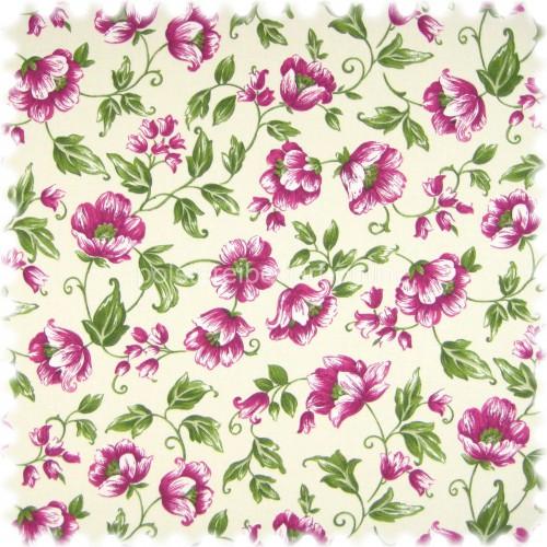 Floral Flachgewebe Möbelstoff Sonya Violett mit Farbdruck im Englisch Leinen Look