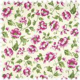Floral Flachgewebe Möbelstoff Sonya Violett mit Farbdruck im Englisch Leinen Look 001