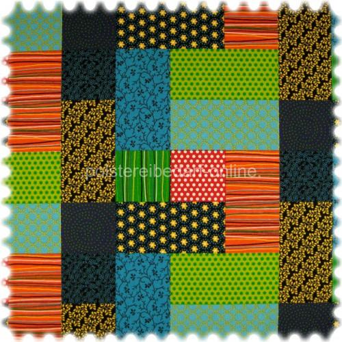 Farbdruck Möbelstoff Patchwork Grün / Blau