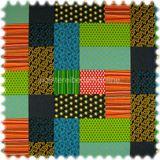 Farbdruck Möbelstoff Patchwork Grün / Blau 001