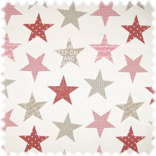 Flachgewebe Möbelstoff Sterne Weiss / Graubeige / Rot