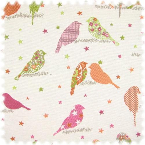 Flachgewebe Möbelstoff Vogel Weiss / Pink / Orange / Grün