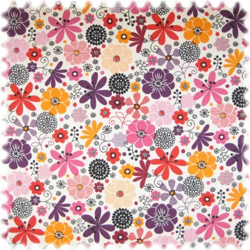 Farbdruck Möbelstoff Blumen Lila / Violett / Rot