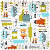 Farbdruck Möbelstoff Kitchen Weiss / Hellblau / Orange / Grün 001