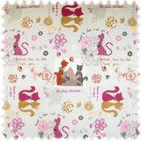 Jacquard Flachgewebe Möbelstoff Katzen Kieselgrau / Pink / Orange 001