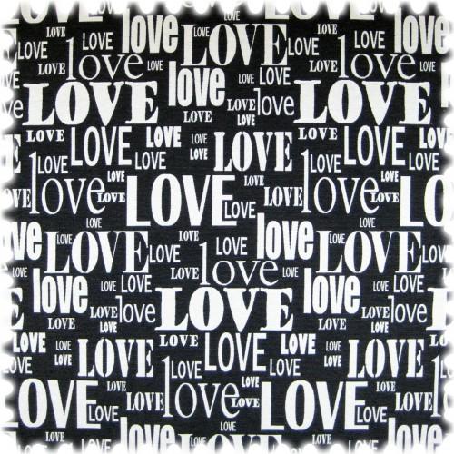 Flachgewebe Möbelstoff Love Schwarz / Weiss