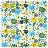 Farbdruck Möbelstoff Blumen Türkis / Grün / Ocker 001