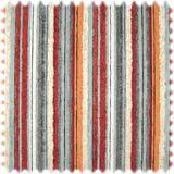 AKTION Chenille Möbelstoff Streifen Salinas Bordeaux / Orange / Grau 001
