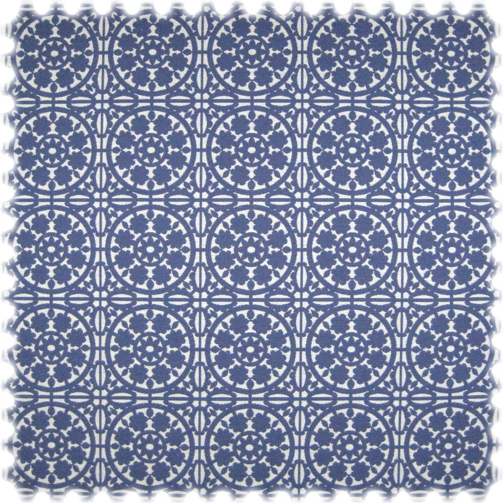 Landhaus Möbelstoff Messina Ornament Blau