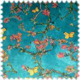 AKTION Samt Möbelstoff Farbdruck Japan Türkis / Pink 001