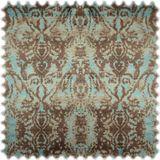 AKTION Samt Möbelstoff Farbdruck Marokko Braun / Türkis 001