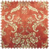 Samt Möbelstoff Farbdruck Ornament Oman Terracotta 001
